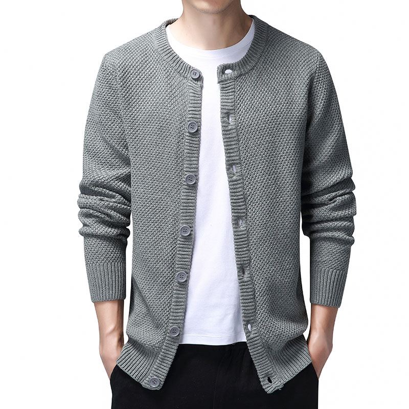 Classic Cardigan Sweater Men Casual Sweater Coat Men with Button Autumn Knitted Cotton Cardigans for Men O Neck Coat Black Grey