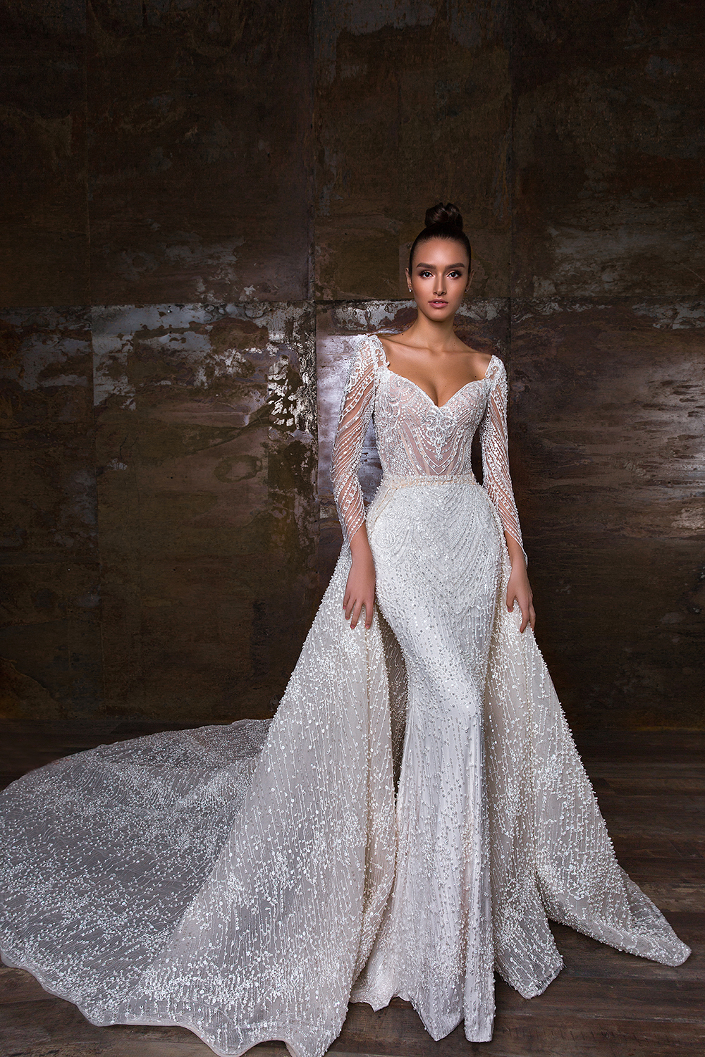 Eslieb 2019 Wedding Dress Custom Made Detachable Train Lace With Shiny Sequins Off Shoulder Sweetheart HA125