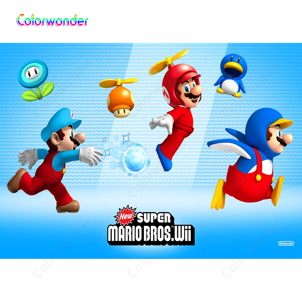 Super Marios Bros Game Photography Backdrops Photo Backgrounds For Boys Child Birthday Party Celebrations Wall Banner Photocall Background Aliexpress