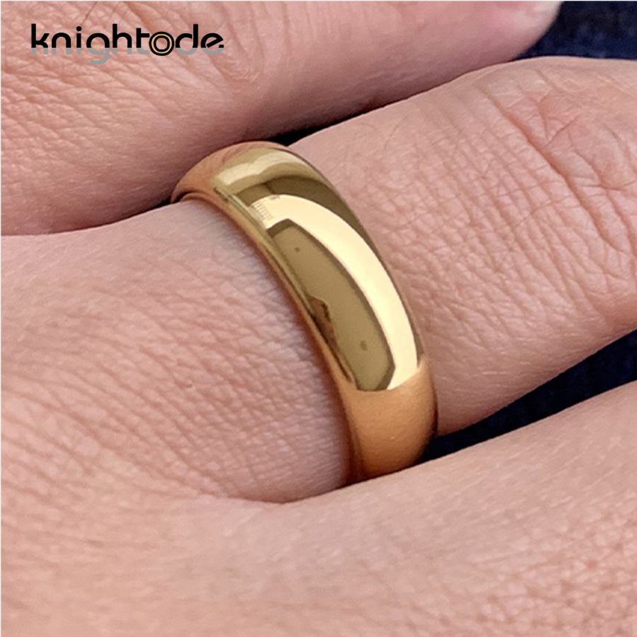 Classic Gold Color Wedding Ring Tungsten Carbide Rings Women Men Engagement Ring Gift Jewelry Dome Polished Band Free Engraving 6