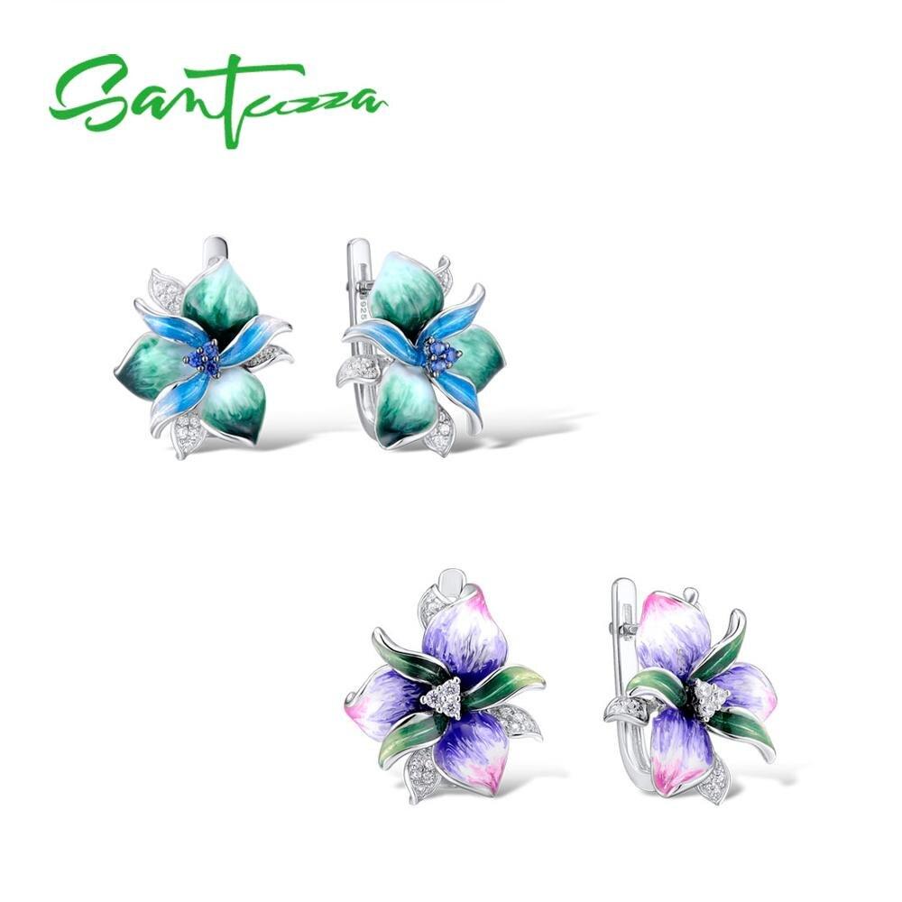 SANTUZZA Silver Earrings For Woman 925 Sterling Silver For Women High Quality Colorful Enamel Flower Earrings Fashion Jewelry