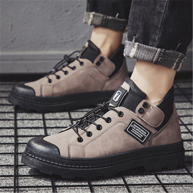 Autumn Winter Men Genuine Leather Ankle Boots British Style Top Quality Male Casual Motorcycle Boots Outdoor Platform Sneakers