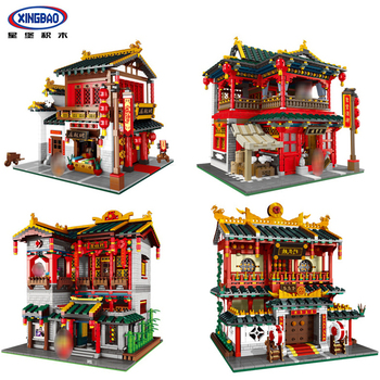 XINGBAO 01001/01002/01003/01004 Creator Series 4 Styles Chinese Street View Building Blocks Bricks Classic Architecture Model