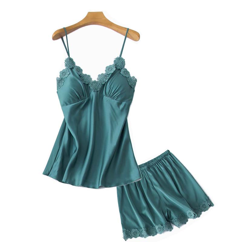 2020 New Women Spring And Autumn Sleepwear Ladies Pajamas Set Solid Color Sexy Lace Camisole+Shorts 2Pcs Femme Soft Homewear