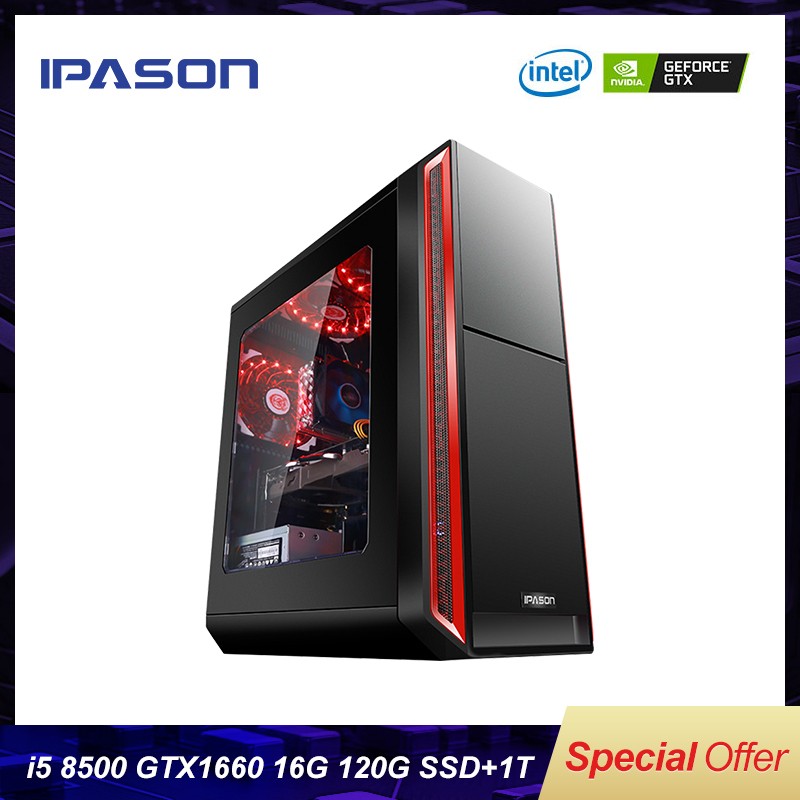 6 Core Intel IPASON Gaming Computer 8th Gen I5 8500 DDR4 2666 8G/16G RAM/Dedicated Card GTX 1660 6G/120G+1T HDD Gaming Desktop