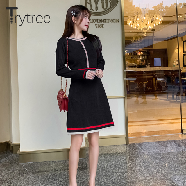 Trytree 2020 Autumn Winter Women Casual Dress O-neck Knitting Spliced Fashion Elegant Button A-line Mini Office Lady Dress 4