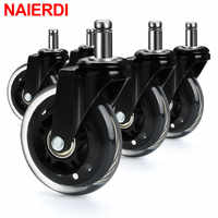 NAIERDI 5PCS Office Chair Caster Wheels 3 Inch Swivel Rubber Caster Wheels Replacement Soft Safe Rollers Furniture Hardware