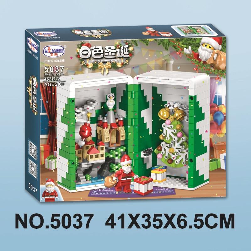 2019 New Christmas Sets Crystal Santa Village Train Compatible With Legoinglys Model Building Kits Blocks Bricks Kids Toys