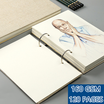 Retro Spiral Sketchbook Linen Hardcover 120 Pages 160GSM Refillable Notebook for Art Drwaing Stationery School Supplies 1
