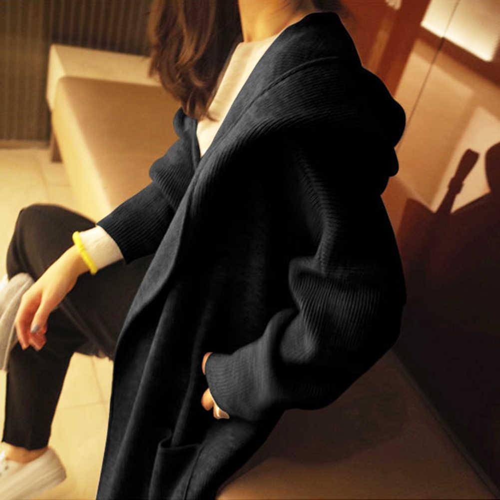 자켓 코트 여성 단색 롱 가디건 가을 겨울 캐주얼 니트 여성 대형 코트 겨울 자켓 후드 스웨터 카디건