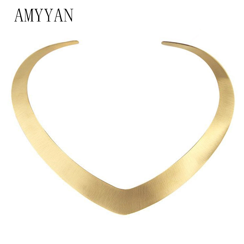 Collar Necklace V Shape Choker Necklace Gold Color Collares Jewelry Stainless Steel Torques Statement Jewelry