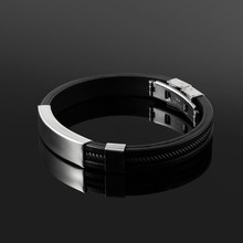 Hot Sale 1PC New Stainless Steel Black Cuff Bracelet Men Punk Silicone Bangle Fashion Jewelry Accessories Length 210MM(China)