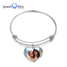 Photo-Bracelets Engraving-Name Customized Stainless-Steel Jewelora Women for Ladies Heart