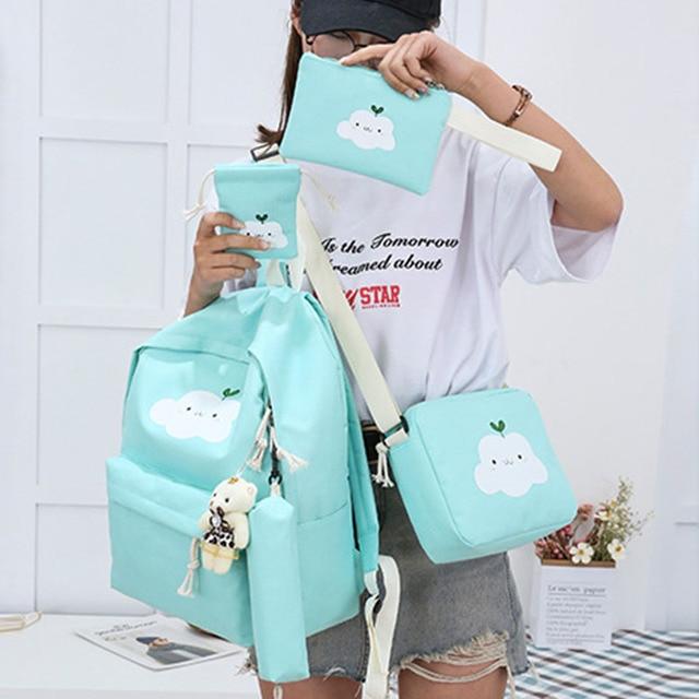 Yeni moda naylon sırt çantası sevimli bulut baskı okul çantaları gençler için okul için rahat çocuk sırt çantası seyahat çantaları