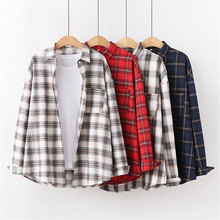 Retro Plaid Turn-down Collar Office Ladies Tops Fashion Full Sleeve Autumn Blouse Women Casual Loose Long Shirt Fashion Blusas cotton long shirt fashion plaid turn down collar full sleeve office lady autumn women blouse plus size casual blusas student top
