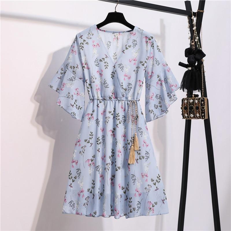 2021 frühling Sommer frau Floral Print Kleid Chiffon Damen Knie Länge Kleid V-ausschnitt Schmetterling Sleeve A-Line Weibliche Kleider