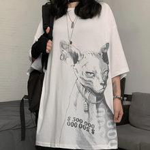 T-Shirt manches courtes pour homme et femme, Streetwear, Hip-Hop, ample et confortable, en coton, avec imprimé de chat Sphinx, Harajuku