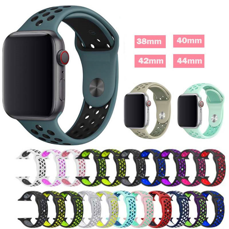 Silicone Strap For Apple Watch Band 44mm/40mm IWatch Band 42mm/38mm Breathable Sport Bracelet Watchband For Apple Watch5 4 3 2 1