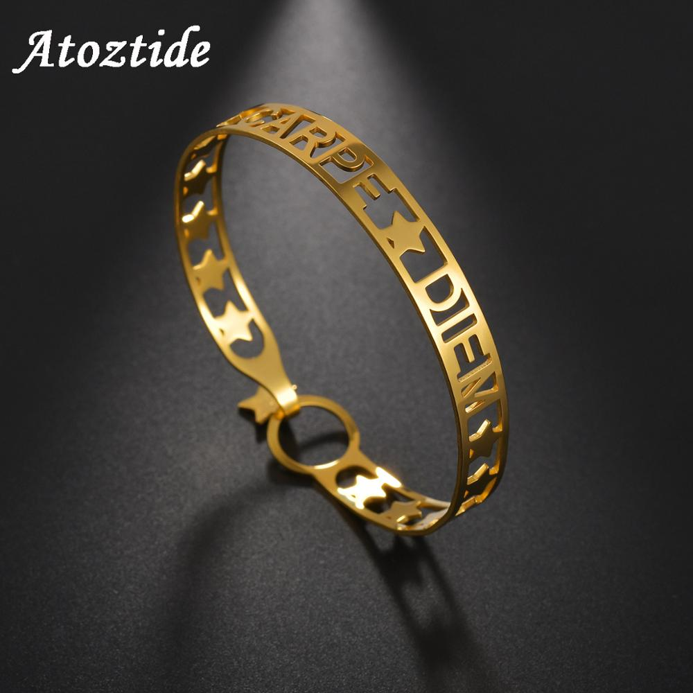 Atoztide Trendy Customzied Name Bracelet For Women Stainless Steel Gold Hollow Name Star Bangle Bracelets Jewelry Best Gift
