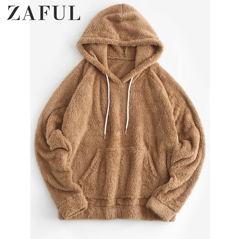 ZAFUL Plain Drawstring Faux Fur Hoodie For Women Solid Color Raglan Sleeve Warm Tops Fluffy Pullovers Winter Newest 2019