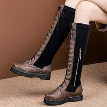 women knee high boots low heels lace up matin shoes woman chaussure zapatos mujer  wxz179