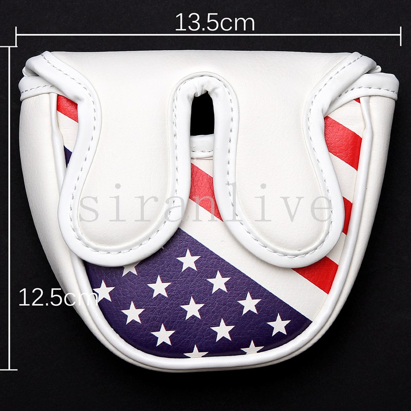 Golf Mallet Headcover Putter Cover For Center-shaft Putter Club USA Flag Style Magnetic Closure