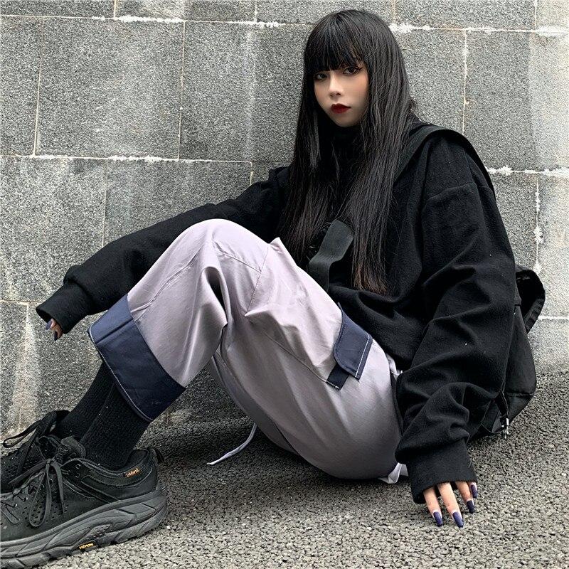 Focal20 Streetwear Hit Color Patchwork Pockets Women Cargo Pants Wide Leg Loose Female Trousers Elastic Waist Autumn Lady Bottom 1