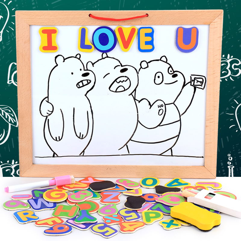 Direct Selling Wooden Children Mounted Magnetic Drawing Board Baby Early Childhood Lettered Educational Magnetic Refrigerator St