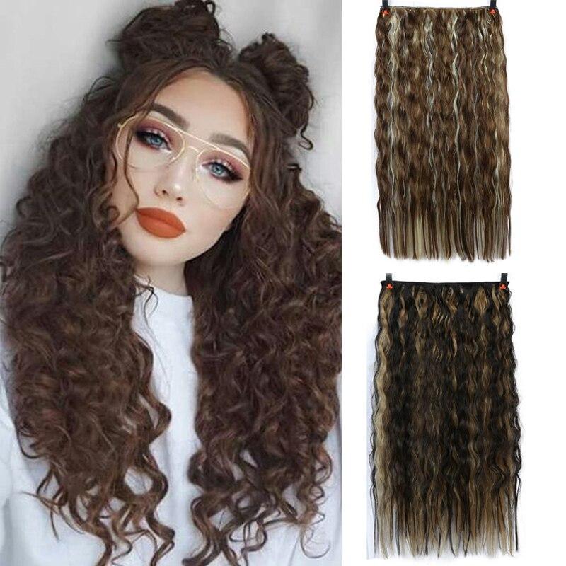 AILIADE Long Corn Curls Women Clip Hair Extension Black Brown High Temperature Synthetic Hair Clip