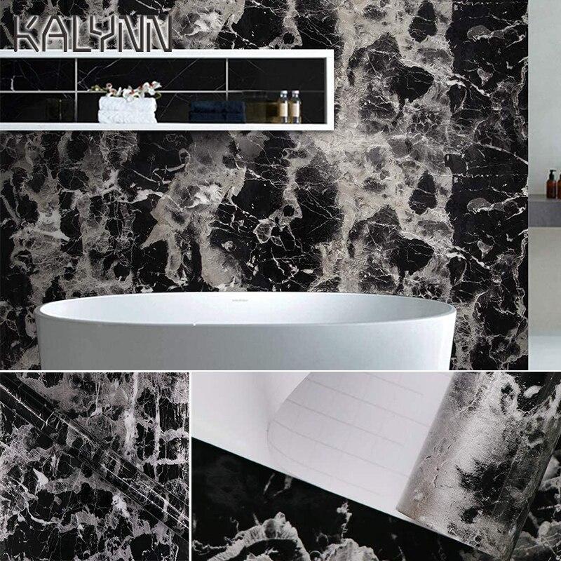 10M Black Marble Paper Granite Wallpaper Self Adhesive Counter Top Removable Film Vinyl Peel-Stick Shelf Liner DIY Contact paper