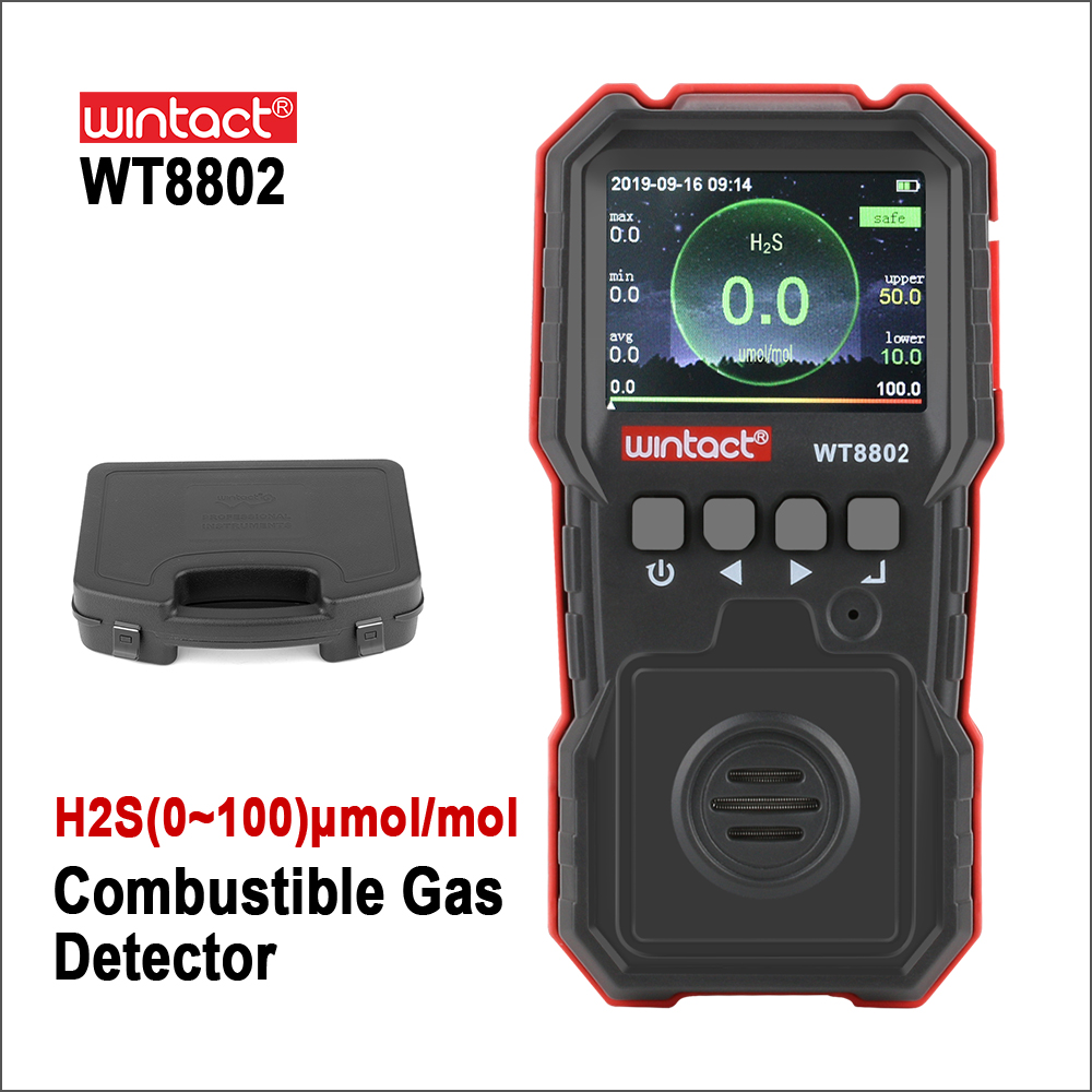 RZ Hydrogen Sulfide Monitor Professional Rechargeable Gas Sensor High Sensitive Digital Sound-light Vibration Alarm H2S Detector