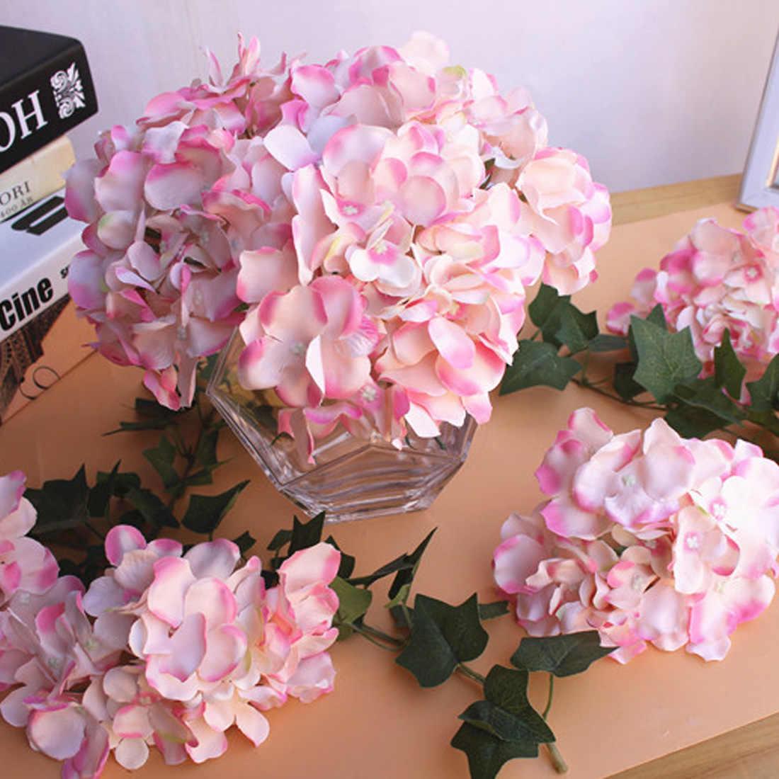 1 個のシルク人工花アジサイの花の結婚式の装飾春 vivid ビッグ結婚式ホームデコレーション