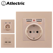 Atlectric Wall Power Outlet EU FR Standard Socket With Dual 2100ma USB Charging Adapter For Mobile Plastic Panel