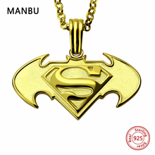 MANBU personalized custom Batman necklace sterling silver chain necklaces engraved name for women men jewelry anniversary gift manbu personalized custom superman necklace sterling silver chain necklace for women men jewelry anniversary gift free shipping