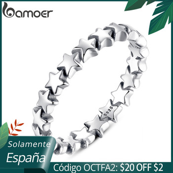 BAMOER 2020 HOT SALE Silver 925 Star Ring For Women Wedding 100% 925 Sterling Silver Stackable Finger Ring Jewelry PA7151 [meibapj] 925 silver 100