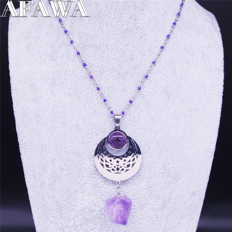 2020 sorcellerie violet cristal acier inoxydable collier chaîne femmes Wicca étoile lune argent couleur collier bijoux cadena N651S02