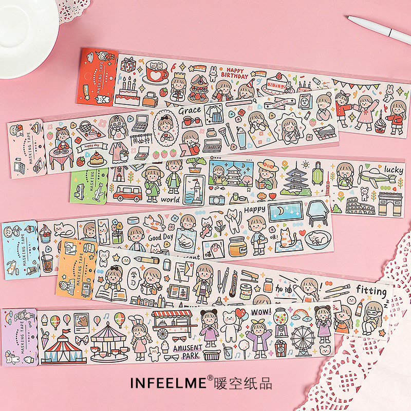 Fun Life Series Cute Character PET Washi Masking Tape Release Paper Stickers Scrapbooking Stationery Decorative Tape Sticker