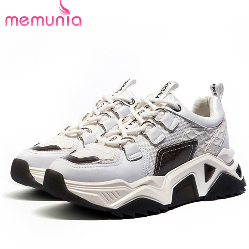 MEMUNIA 2020 hot sale genuine leather sneakers women flat platform shoes lace up mixed colors comfortable casual shoes woman