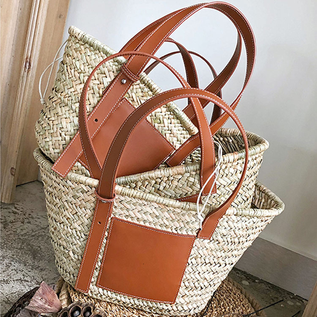 Beach Rattan Bag Women New Elegant Straw Bag Bolsos Mujer De Marca Famosa 2019 Bolso Paja Bolso Playa Designe Luxury Handbags 2