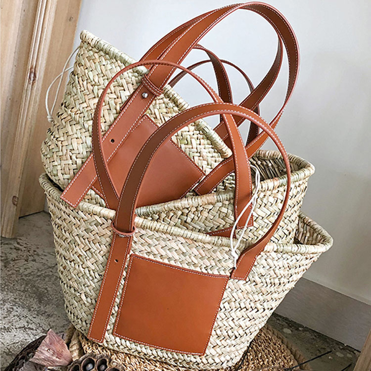 Image 2 - Beach Rattan Bag Women New Elegant Straw Bag Bolsos Mujer De Marca Famosa 2019 Bolso Paja Bolso Playa Designe Luxury Handbags-in Shoulder Bags from Luggage & Bags