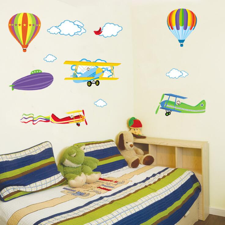 Cartoon colorful hot air balloon airplane child wall sticker living room bedroom wall decoration wall stickers for kids rooms image