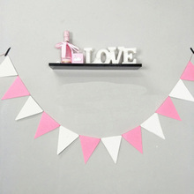 4M 12flags Pink Fabric Bunting Personality Baby Show Wedding Birthday Party Decoration Shower Customize Garden Room Garland