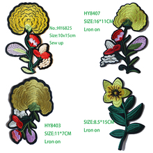 Giallo Oro Rose Camellia  Embroidered Iron on Patches for Clothing DIY Stripes Clothes Patchwork Sticker Custom Flowers Badges