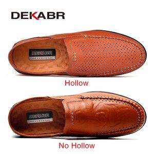 Image 2 - DEKABR prawdziwej skóry mężczyzna przypadkowi buty luksusowej marki 2021 męskie mokasyny oddychające Slip on buty do jazdy samochodem Plus rozmiar 45