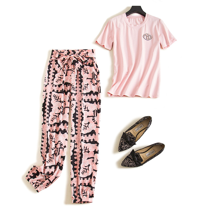 2020 New Spring Round Color Print T-shirt And Elastic Waist Beach Pants Women Casual Lace Up Big Size Set Tide