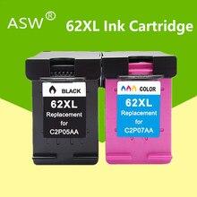 Cartucho de tinta asw 62xl, compatível com hp 62 xl hp62 para hp envy 5540 5640 7640 5646 5541 5740 impressora 200 250