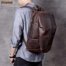 PNDME vintage designer crazy horse cowhide men's large capacity travel backpack outdoor genuine leather women's bagpack bookbag