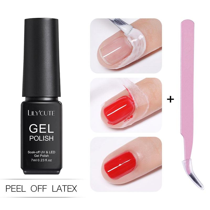 LILYCUTE 7ml Anti-freezing Peel Off Nail Art Latex Type Liquid Cuticle Protector Nail Polish  Nail Art Latex