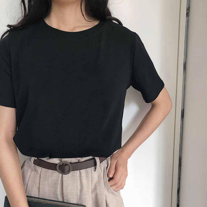 하라주쿠 티셔츠 4 솔리드 컬러 베이직 티셔츠 여성 캐주얼 오크 친구 여름 탑 한국 힙 스터 스트리트웨어 화이트 티셔츠