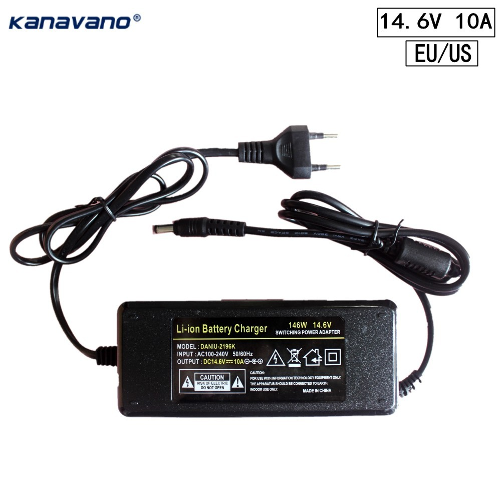 Kanavano 12V Charger 14.6v 5A 10A Battery charger adapter DC 5.5 * 2.1 MM 18650 Lithium 12.6V 10A Power Adapter EU/US Plug